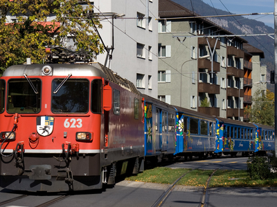 An Arosa Line Train On Engadinstrasse In Chur