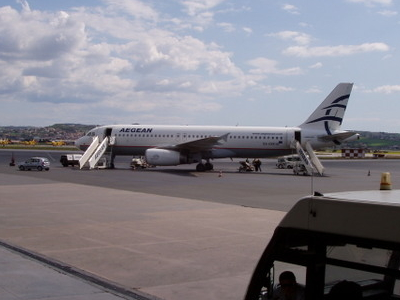 An Aegean Airlines Airbus A320-200 At Macedonia Airport
