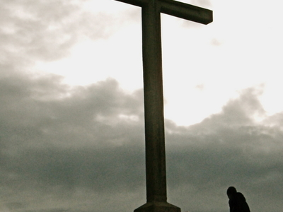 Hillwalkers At The Cross On The Summit Of Bray Head