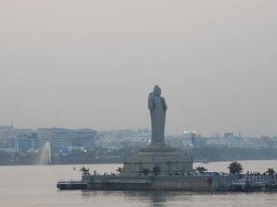 Buddha Statue With Somajiguda In The Backdrop