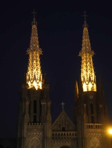 Brightly Lit Church Towers