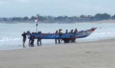 Fishing Boat Landing At Jimbaran Beach