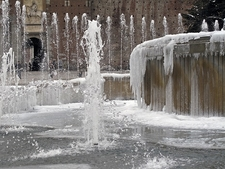 Frozen Fountain Outside Castello Sforzesco In MIlan