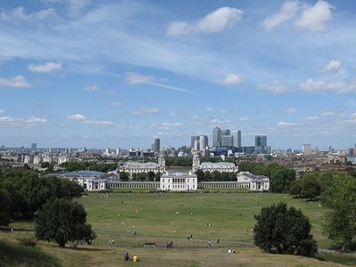 Queens House And Canary Wharf From Greenwich Park