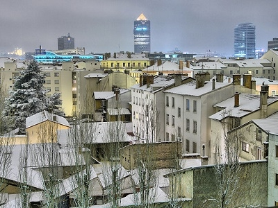 Lyon In Snow By Night