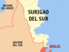 Map Of Surigao Del Sur Showing The Location Of Bislig City