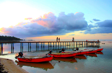 Moorea Island - Tiahura Tipaniers Pier At Sunset