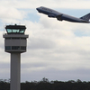 Melbourne Airport Control Tower And United B747