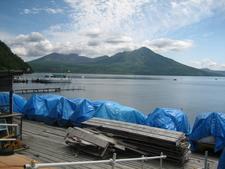 Lake Shikotsu With Mount Tarumae