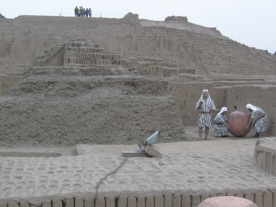 Pucllana With Statues Of Lima Culture Priests