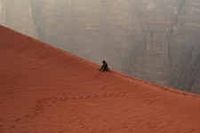Red Sand Dune At Wadi Rum - Jordan