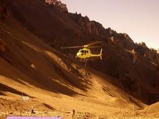 Rescue Helicopter At Plaza De Mulas - Aconcagua Argentina