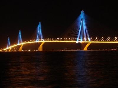 Rio-Antirio Bridge View At Night