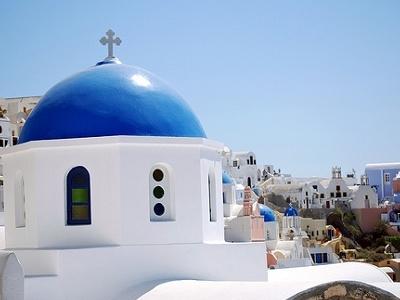 Santorini Church With Cityscape