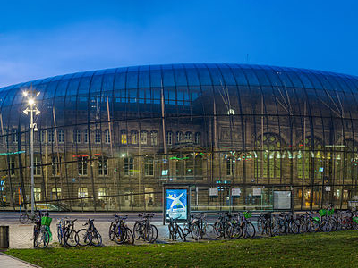 Strasbourg Railway Station At Dusk