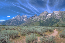 Tetons - With Streaming Clouds