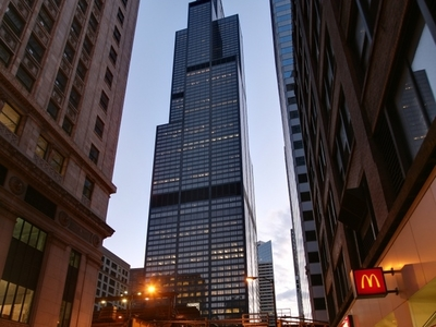 The Willis Tower At Dusk Seen From The Loop