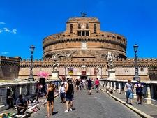 Tourists Flock Castel Sant'Angelo Bridge In Rome