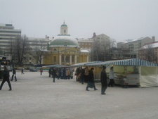 Orthodox Church And Some Market Stands
