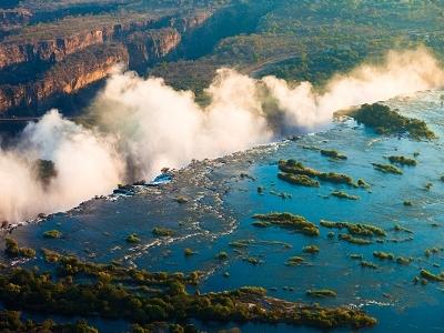 Victoria Falls Over Zambezi River - Zambia-Zimbabwe Border