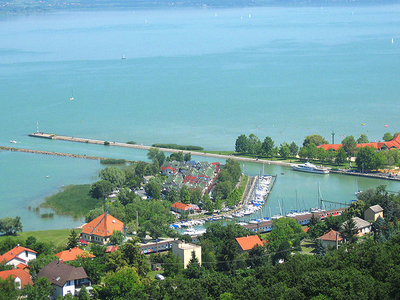 View Of Port Of Fonyód And Lake Balaton