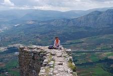 Visitor Over Acrocorinth Wall @ Corinth