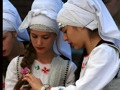 Young Girls In Traditional Attire