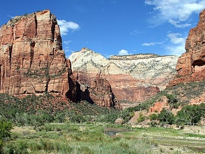 Zion Canyon Viewed From The Canyon Floor
