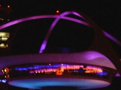 The Theme Building Decorated With Light