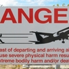 Sign Warning Passers-by About The Risks Of Jet Blast