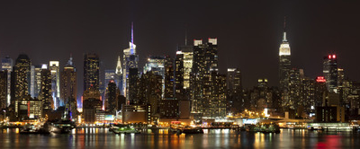 A Panoramic View Of Midtown Manhattan At Night