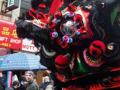 A Chinese Lion During Chinese New Year