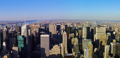 A Panoramic View Of Midtown Manhattan During Midday