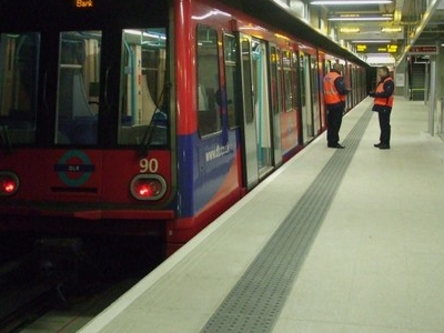 DLR Train Awaiting Departure To Bank