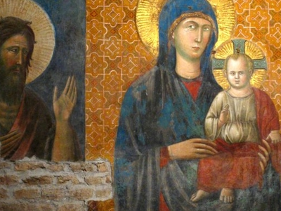 Fresco Of Madonna And The Child