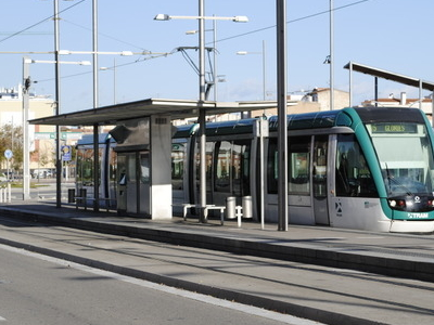 Trambesòs Stop With A Tram