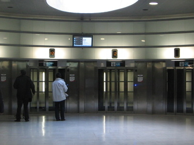 Elevators At The La Salut Station Hall