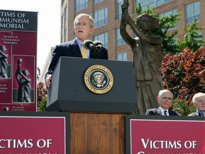 President  Bush Dedicates The  Victims Of  Communism  Memorial