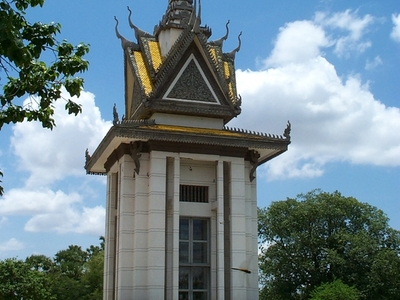 Choeung  Ek Commemorative Stupa Filled With Skulls