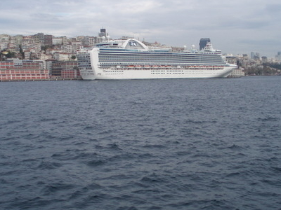 A Cruise Liner Docked At The Port Of Istanbul