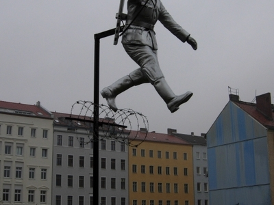 Sculpture Called The Mauerspringer (Wall Jumper)