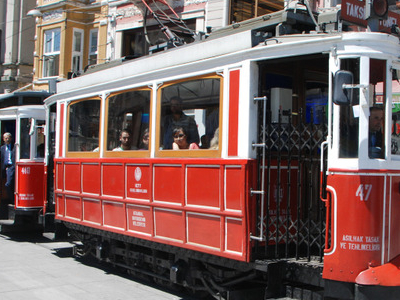 A Historic Tram On İstiklal Avenue