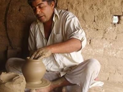Clay Artist Working Thrower Gujrat Pakistan