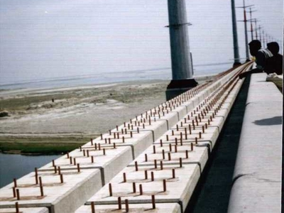 Bridge Showing 8 Rows Of Bolts For 4 Rails