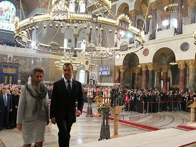 Dmitry Medvedev And His Wife At The Festivities In The Naval Cathedral
