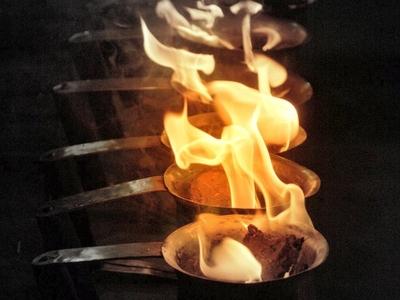 Preparation For Incense Aarti Of  Ganges  2 C  Varanasi  Ghats