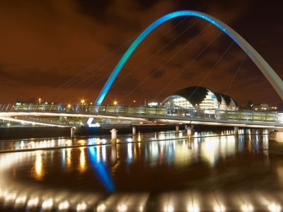 A Night View Of Millennium Bridge, Photo Taken From The Northern Embankment Looking West