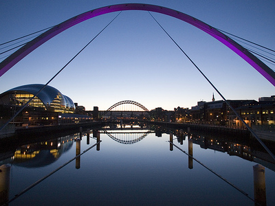 A View Taken From On The Millennium Bridge Itself, Looking West (upriver) At Dusk, Showing The Coloured Lighting