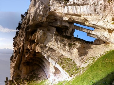 The Double Arch, At 32 Metres (105 Ft) The Longest Span In The Alps.