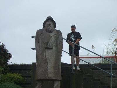 Fisherman  Statue  In  Greymouth
